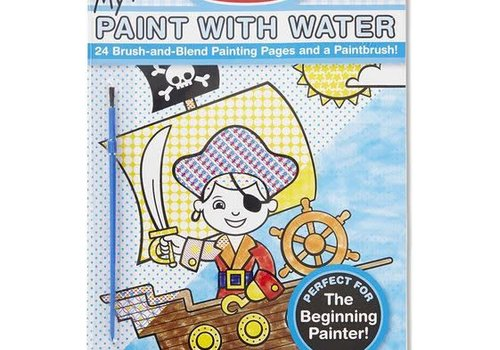 Melissa And Doug My First Paint With Water Kids' Art Pad With Paintbrush - Pirates, Space, Construction, and More