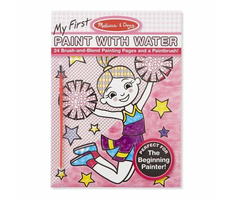 Melissa And Doug My First Paint With Water Kids' Art Pad With Paintbrush - Cheerleaders, Flowers, Fairies, and More