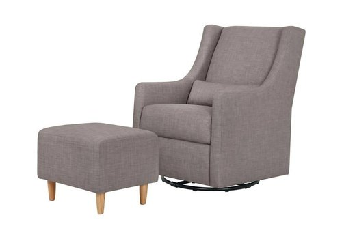 Baby Letto Baby Letto Toco Swivel Glider With Ottoman In Grey Tweed