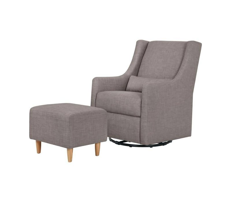 Baby Letto Toco Swivel Glider With Ottoman In Grey Tweed