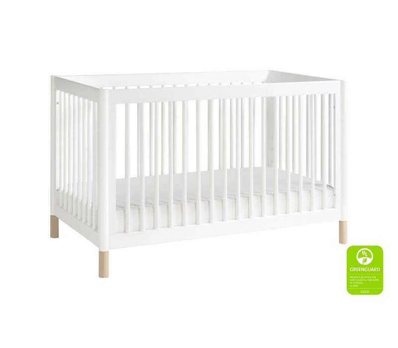 Baby Letto Gelato 4-in-1 Convertible Crib with Toddler Bed Kit In White-Washed Natural