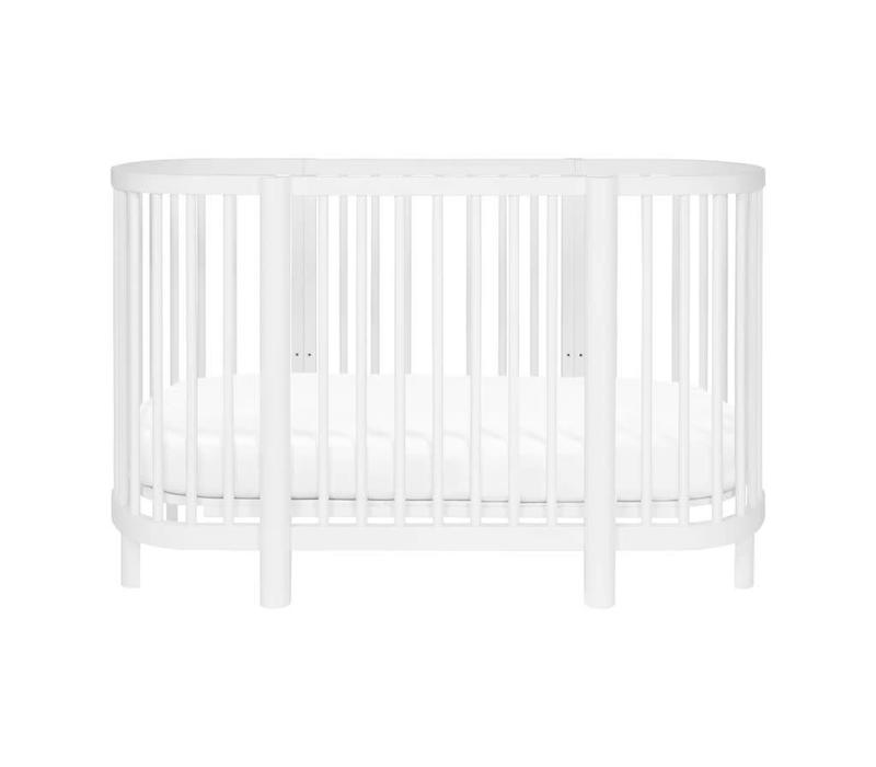 Baby Letto Hula Oval Convertible Crib with Mini/Bassinet Conversion In White