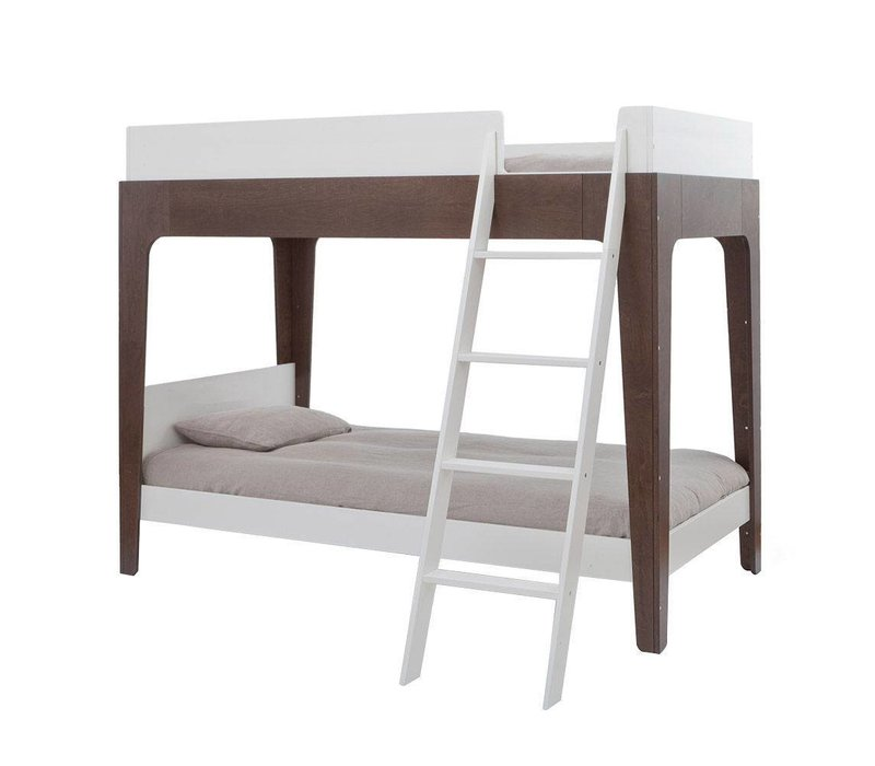 Oeuf Perch Collection Twin Bunk Bed In White/ Walnut