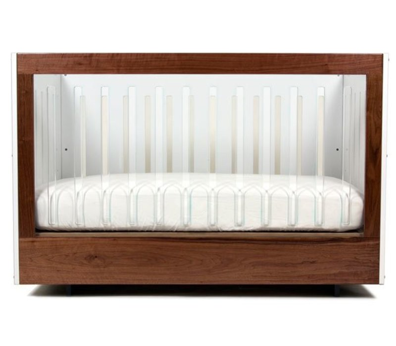 Spot On Square Roh Crib-White-Walnut - 1 Side Acrylic