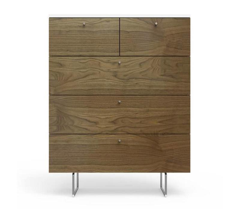 Spot On Square Alto 5 Drawer Dresser White - Walnut