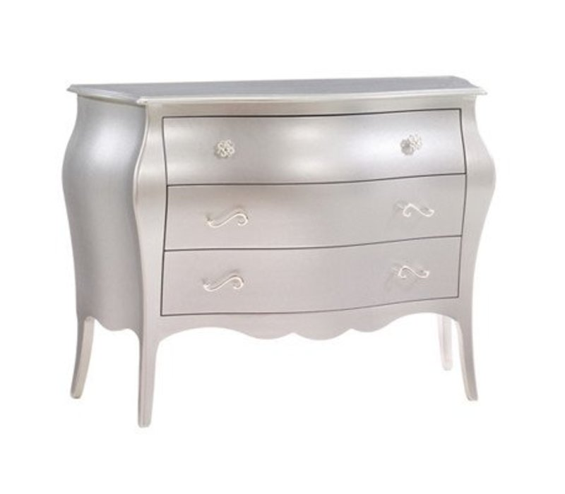 Natart Alexa 3 Drawer Dresser In Silver