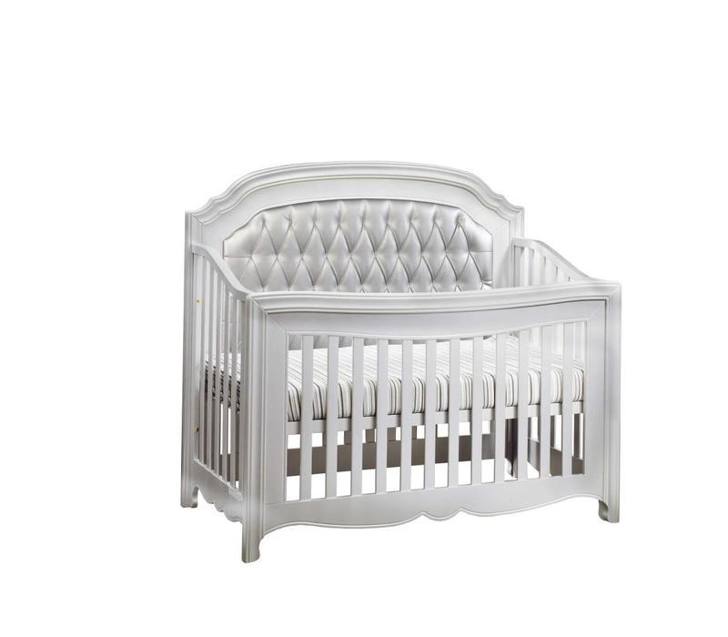 Natart Alexa 5 In 1 Convertible Crib Without Rails In Silver With Silver Panel
