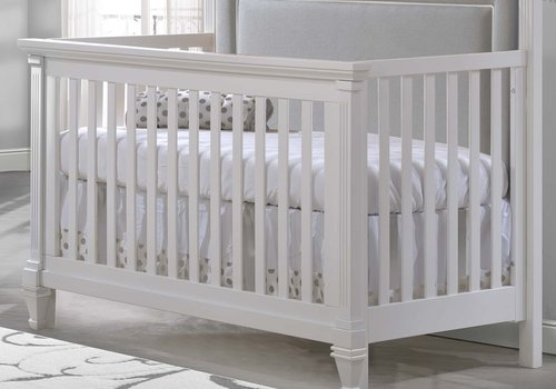 Natart Natart Belmont 4 In 1 Convertible Crib In White With Tufted Panel Linen Grey