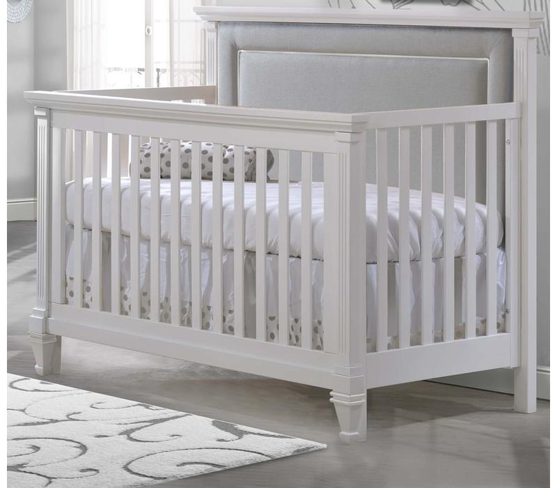 Natart Belmont 4 In 1 Convertible Crib In White With Tufted Panel Linen Grey