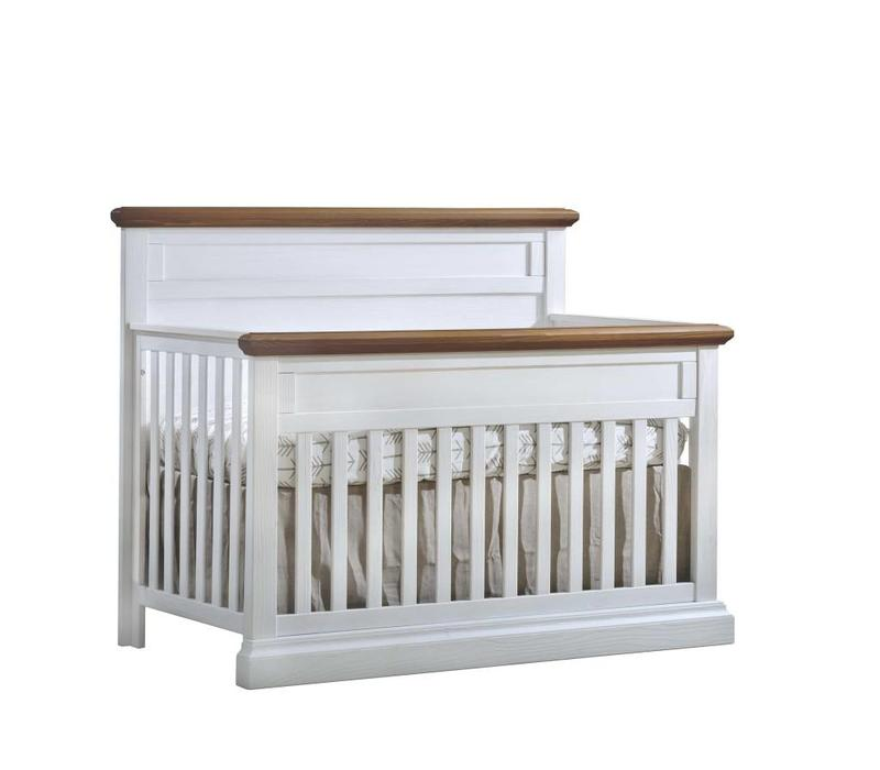 Natart Cortina  4-in-1 Convertible Crib  (w/out rails) White Chalet-Cognac