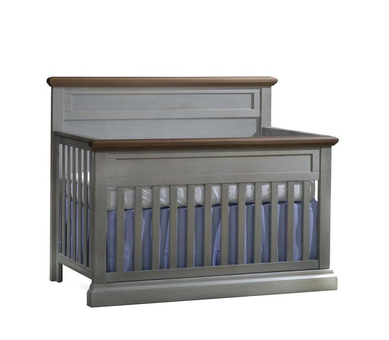 Natart Cortina  4-in-1 Convertible Crib  (w/out rails) Grey Chalet- Cognac