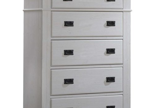 Natart Natart Cortina 5 Drawer Dresser In White Chalet-Cognac