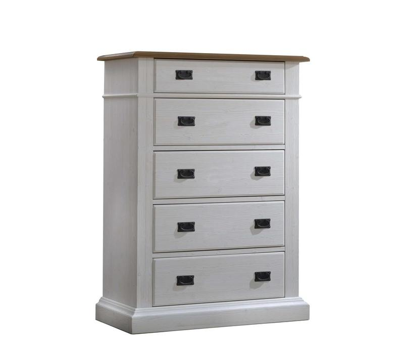 Natart Cortina 5 Drawer Dresser In White Chalet-Cognac