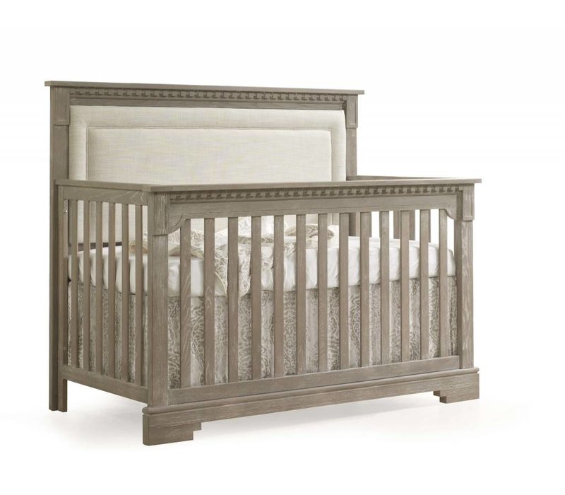 Natart Ithaca 4-in-1 Convertible Crib In Sugar Cane with Upholstered Panel  (w/out rails) In Talc