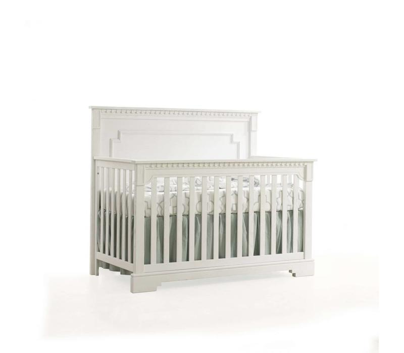 Natart Ithaca 4-in-1 Convertible Crib with Wood Panel (w/out rails) In Rustic White