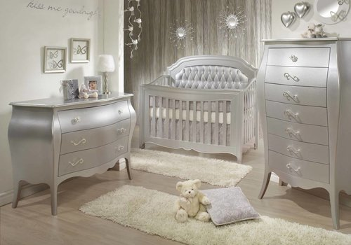 Natart Natart Alexa Crib With Tufted Panel, Dresser, And Lingerie Chest
