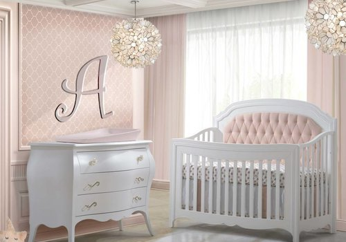 Natart Natart Allegra Crib In White With Tufted Panel In Blush And Dresser