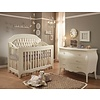 Natart Natart Allegra Crib In French White With Tufted Panel In Platinum And Dresser