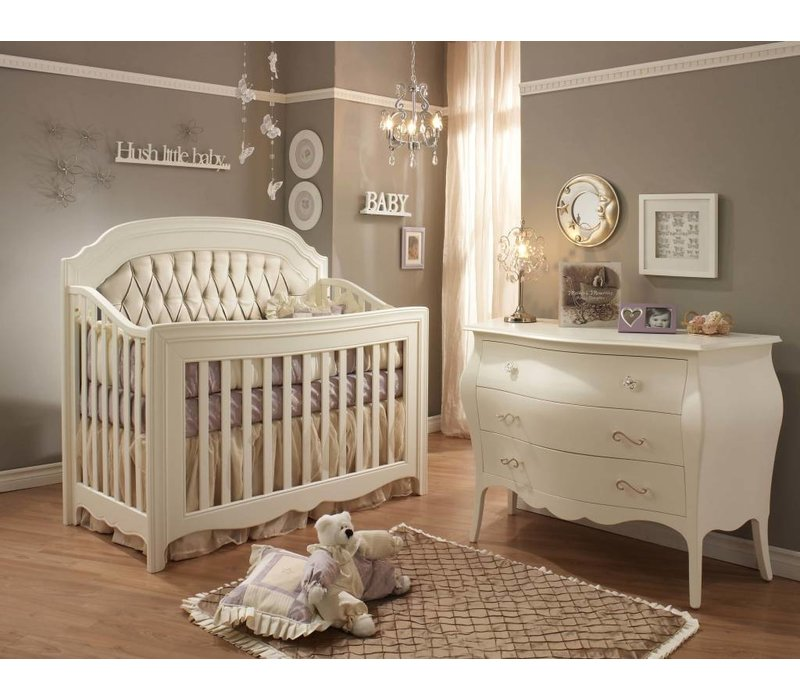 Natart Allegra Crib In French White With Tufted Panel In Platinum And Dresser