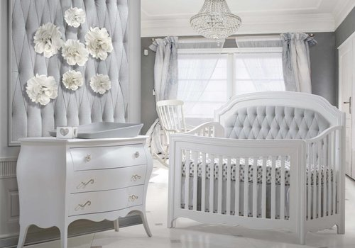 Natart Natart Allegra Crib In White With Tufted Panel In Linen Grey And Dresser