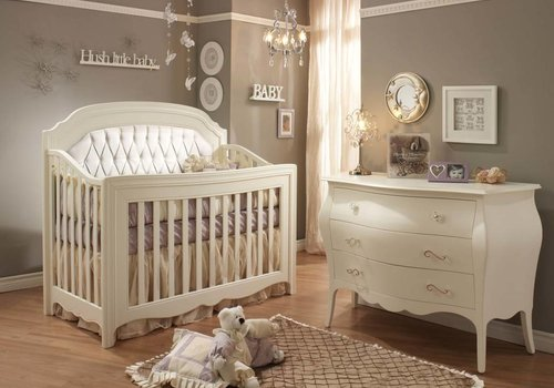 Natart Natart Allegra Crib In French White With Tufted Panel In White And Dresser