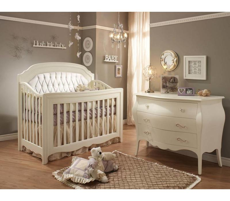 Natart Allegra Crib In French White With Tufted Panel In White And Dresser