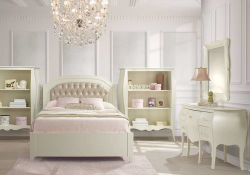 Natart Natart Allegra Full Bed In French White With Tufted Panel In Platinum, Dresser,Mirror  And Desk With Seating