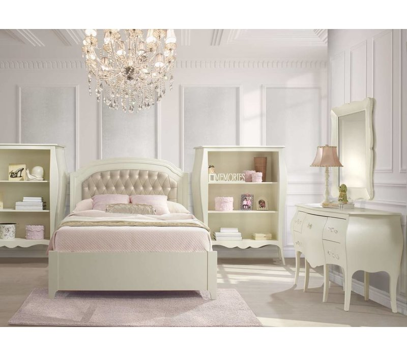 Natart Allegra Full Bed In French White With Tufted Panel In Platinum, Dresser,Mirror  And Desk With Seating