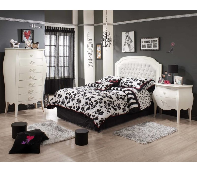 Natart Allegra Full Bed In French White With Tufted Panel In White, Lingerie Chest, Night Stand