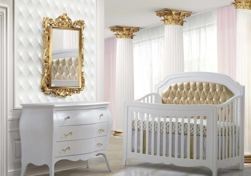 Natart Natart Allegra White Crib With Tufted Panel In Gold And Dresser