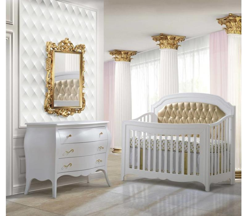 Natart Allegra White Crib With Tufted Panel In Gold And Dresser