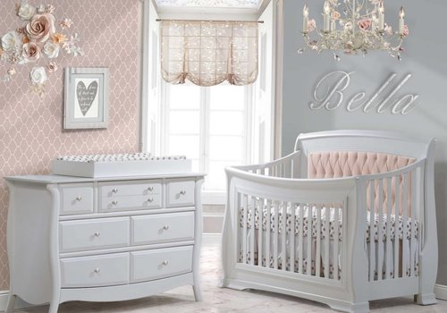 Natart Natart Bella Crib In White With Tufted Panel In Blush, Double Dresser, And Changing Tray