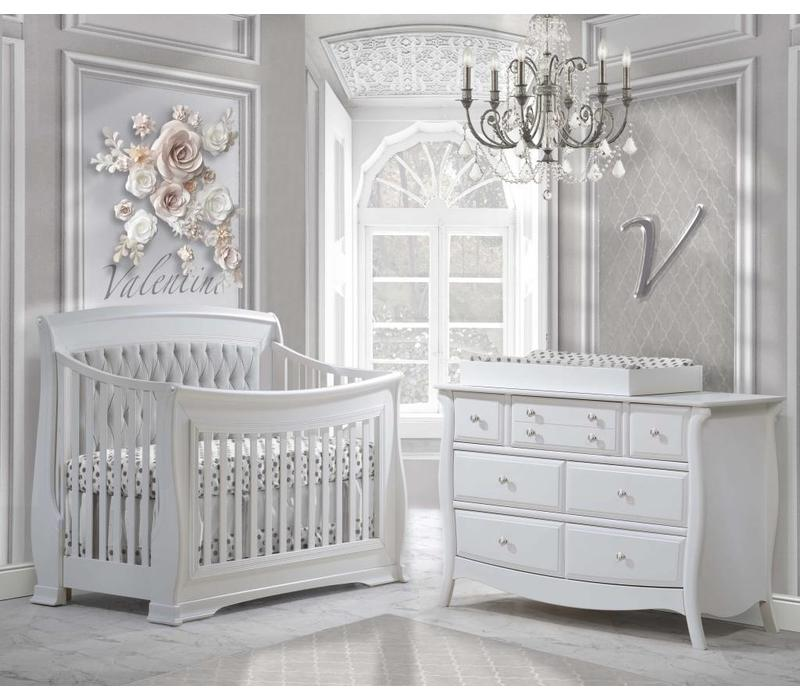 Natart Bella Crib In White With Tufted Panel In Linen Gray, Double Dresser, And Changing Tray