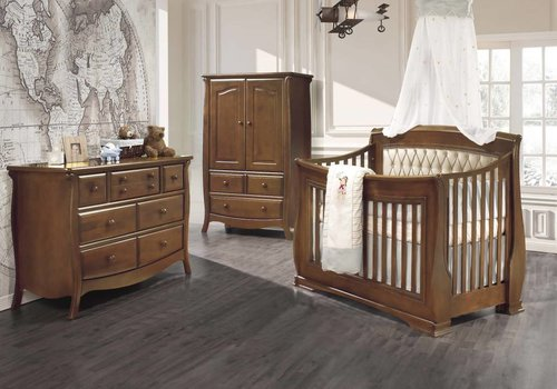 Natart Natart Bella Crib In Walnut With Tufted Panel In Platinum, Double Dresser, And Armoire