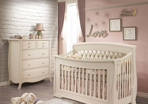 Natart Natart Bella Crib In Linen With Tufted Panel In Platinum, And 5 Drawer Dresser