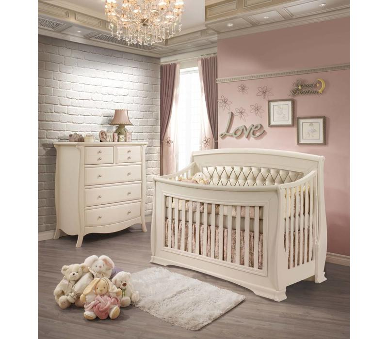 Natart Bella Crib In Linen With Tufted Panel In Platinum, And 5 Drawer Dresser