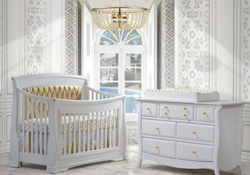 Natart Natart Bella Gold Crib In White With Tufted Panel In Gold, Double Dresser, And Changing Tray
