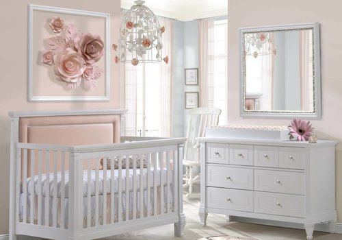 Natart Belmont Crib In White With Tufted Panel In Blush, Double Dresser And Changing Tray