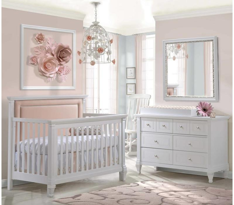 Belmont Crib In White With Tufted Panel In Blush, Double Dresser And Changing Tray