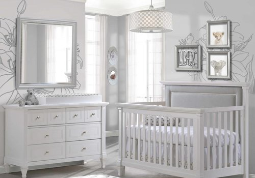 Natart Belmont Crib In White With Tufted Panel In Linen Gray, Double Dresser And Changing Tray