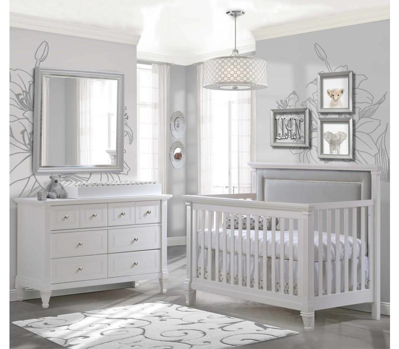 Belmont Crib In White With Tufted Panel In Linen Gray, Double Dresser And Changing Tray