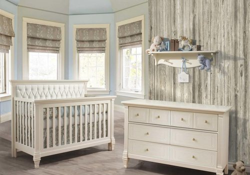 Natart Belmont Crib In French White With Tufted Panel In White, And Double Dresser
