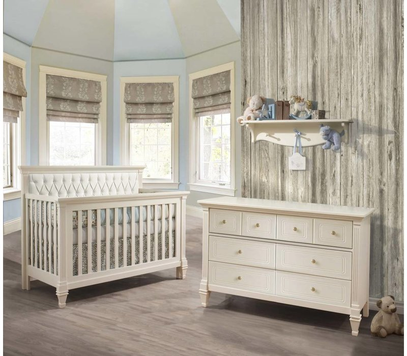 Belmont Crib In French White With Tufted Panel In White, And Double Dresser