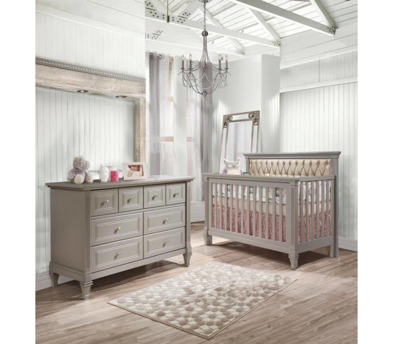 Belmont Crib In Stone Grey With Tufted Panel In Platinum, And Double Dresser