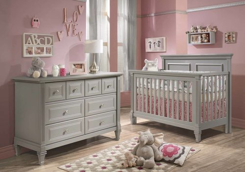 Natart Belmont Crib In Elephant Grey , And Double Dresser