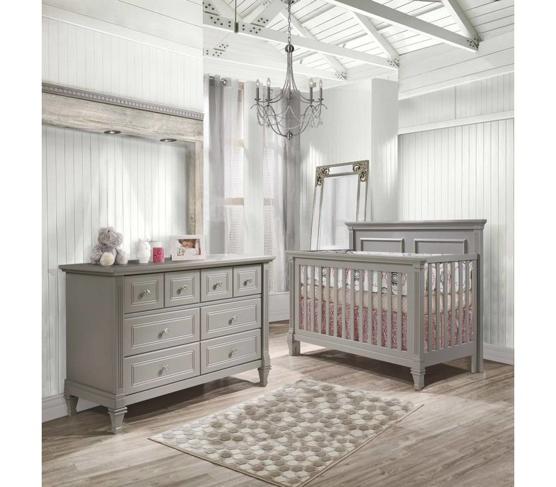 Belmont Crib In Stone Grey, And Double Dresser