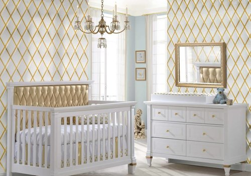 Natart Belmont Gold Crib In White With Tufted Panel In Gold, Double Dresser And Changing Tray