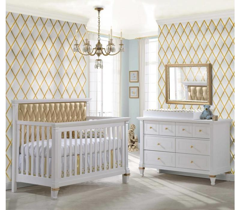 Belmont Gold Crib In White With Tufted Panel In Gold, Double Dresser And Changing Tray