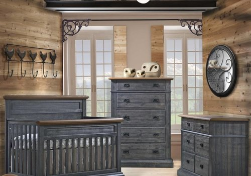 Natart Natart Cortina Crib IN Black Chalet With Cognac, Double Dresser And 5 Drawer Dresser