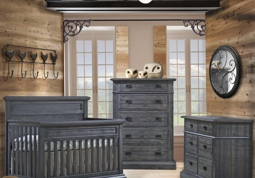 Natart Natart Cortina Crib IN Black Chalet, Double Dresser And 5 Drawer Dresser